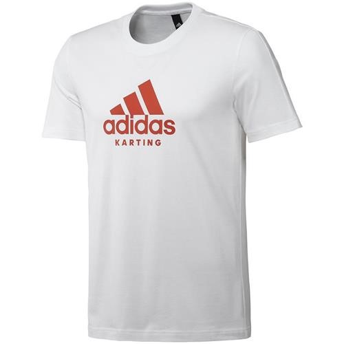 Adidas Karting T Shirt White/Red Large