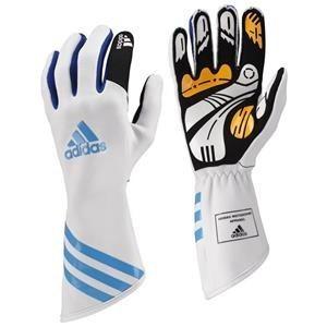 Adidas Kart XLT Gloves White/Cyan/Blue XXSmall