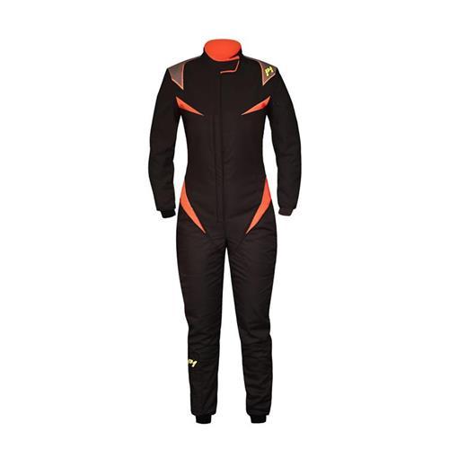 P1 Race Suit Donna Black/Orange - Size 2