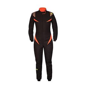 P1 Race Suit Donna Black/Orange - Size 2