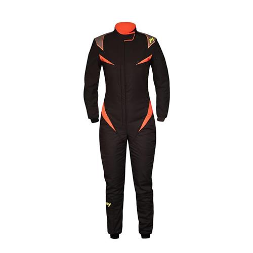 P1 Race Suit Donna Black/Orange - Size 4
