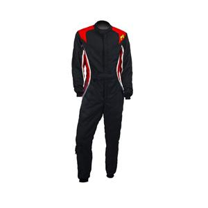 P1 Race Suit Turbo Black/Red/Silver - Size 2