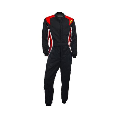 P1 Race Suit Turbo Black/Red/Silver - Size 4